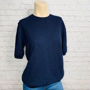 COS Cashmere Sweater Short Sleeve Navy Blue Sz S